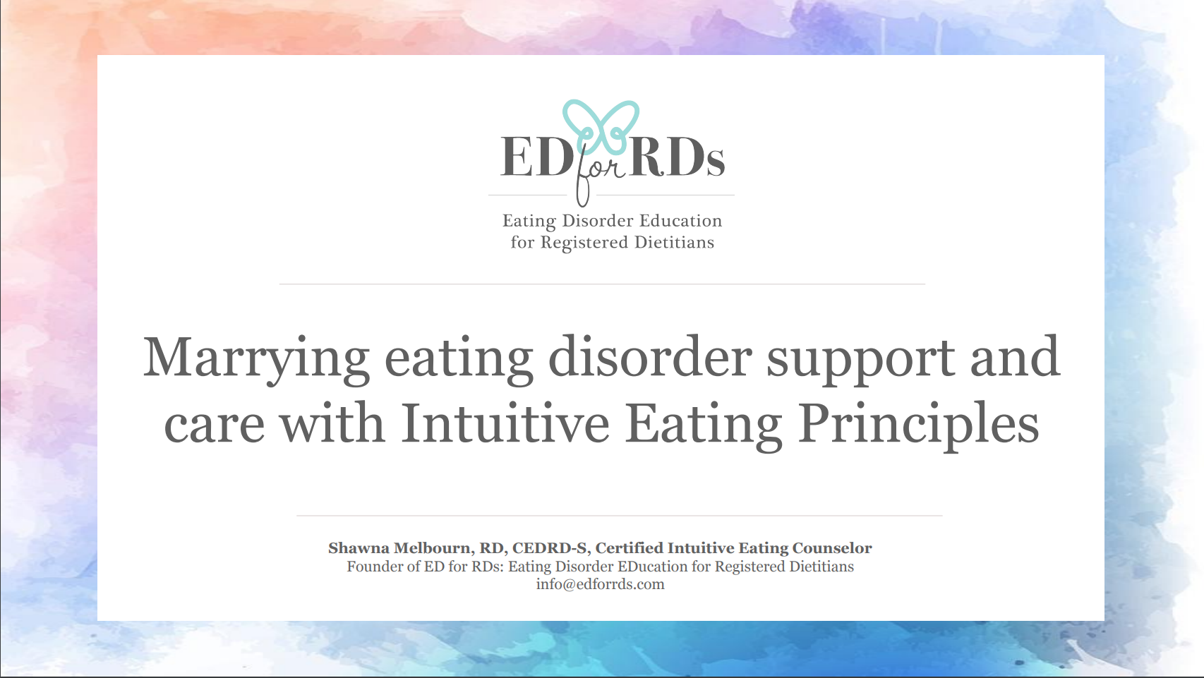 Webinar: Marrying Eating Disorder Treatment and Care with Intuitive Eating Principles